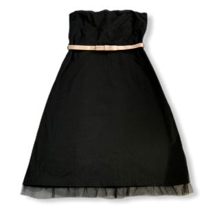Ruth Vintage Strapless Black Dress Pink Bow Tulle